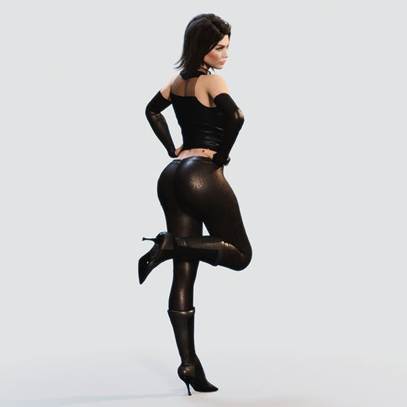 Woman in Leather Outfit (Fully Rigged)