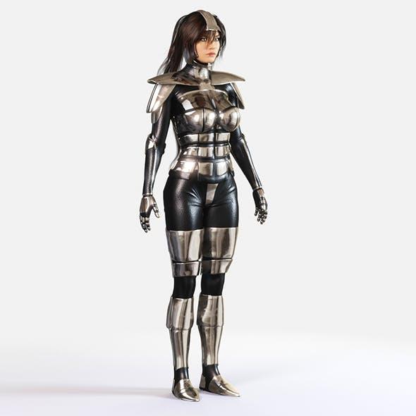 Woman in Silver Armor