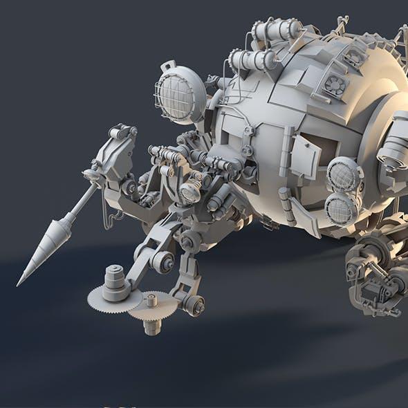 3D robot. Robotic arm. Sci-fi military metal robot. The combat drone stands up.