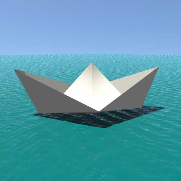 Low poly Paper Boat - 3DOcean Item for Sale