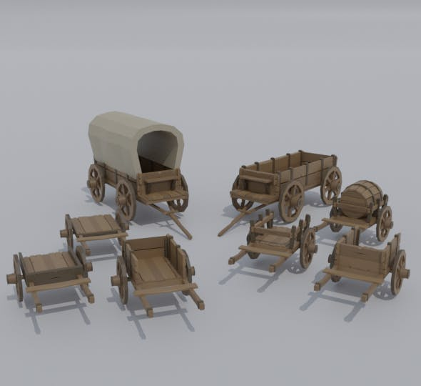 Low-poly cartoon medieval carts asset - 3DOcean Item for Sale