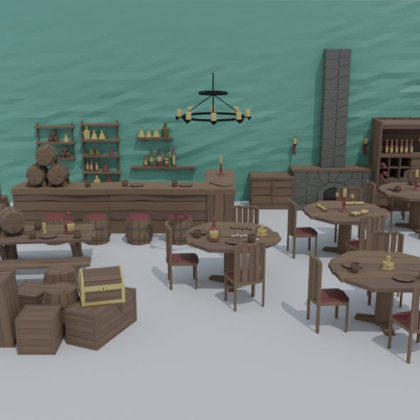 Low-poly cartoon medieval tavern interior asset