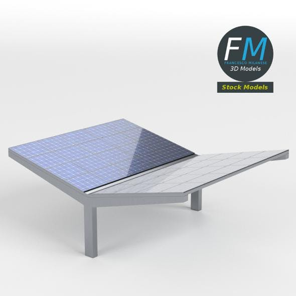 Double parking shelter with solar panels - 3DOcean Item for Sale