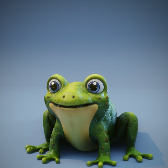 Cartoon Frog Rigged 3D Model