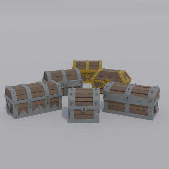 Low-poly cartoon medieval old chests kit
