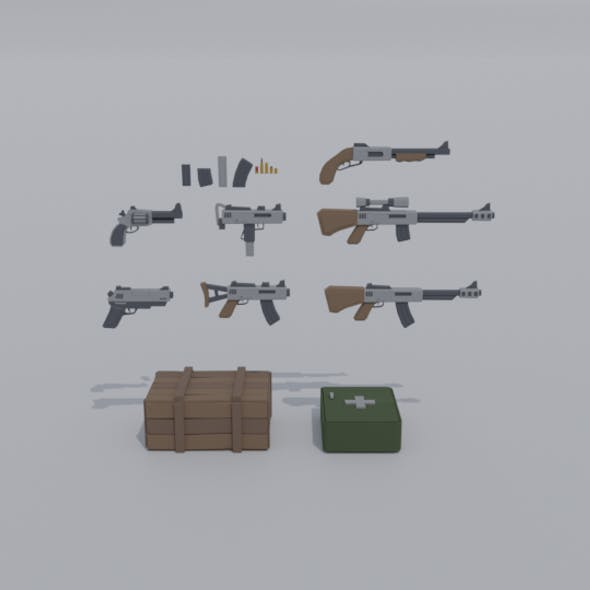 Low-poly cartoon militray weapon kit