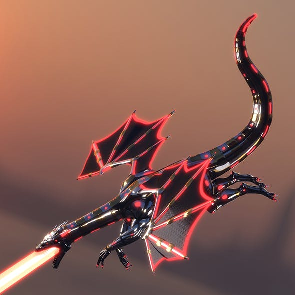 Robot Dragon with Red Lights (Fully Rigged)