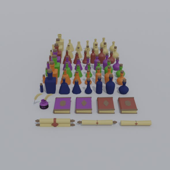 Low-poly cartoon potion and medieval clerk tools asset