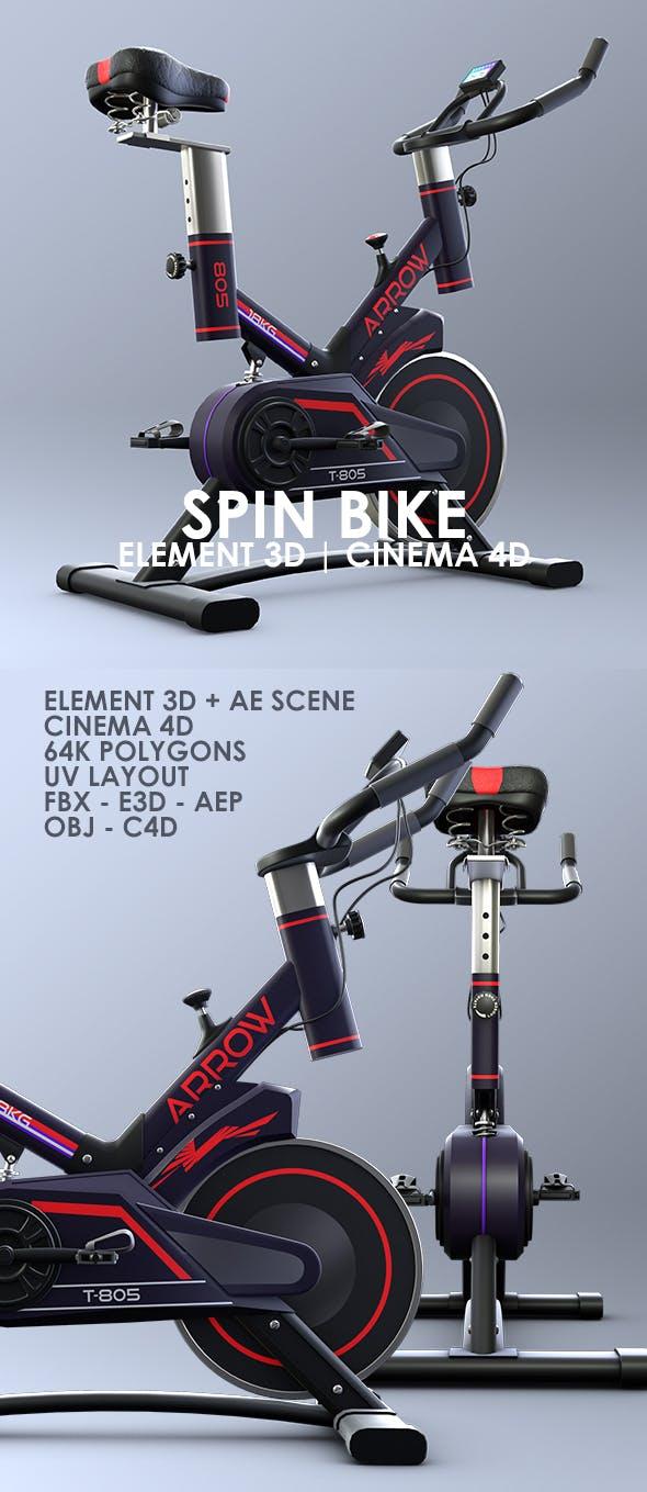 Exercise Spin Bike 3D Model for Element 3D & Cinema 4D - 3DOcean Item for Sale