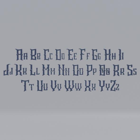 Low-poly cartoon fantasy Alphabet