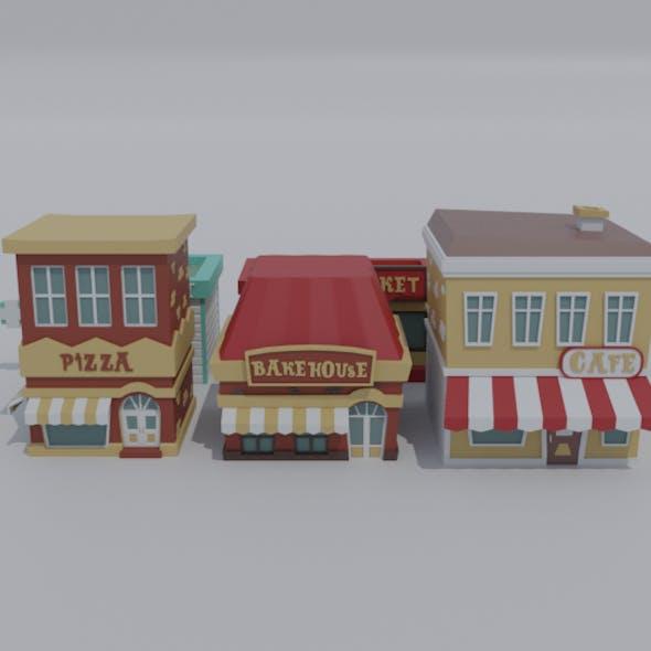 Low-poly cartoon shop asset