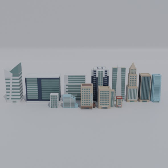 Low-poly cartoon Skycraper and office asset