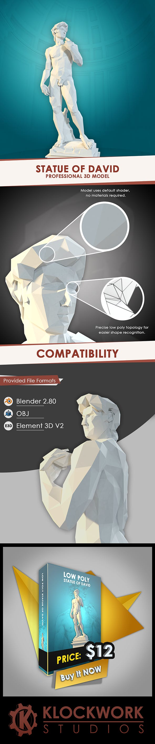 low poly statue of david - 3DOcean Item for Sale