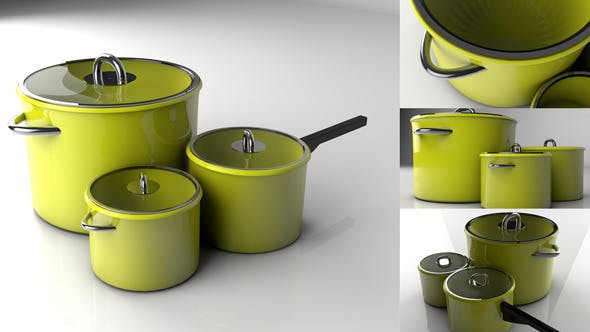 Green Pots - 3DOcean Item for Sale