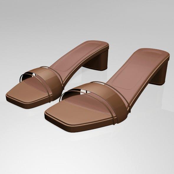 Paneled Square-Toe Block-Heel Sandals 01
