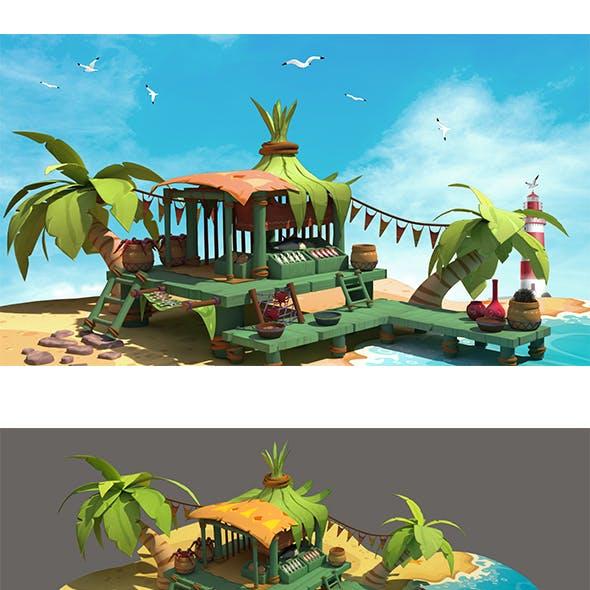 Fish market sea 3D