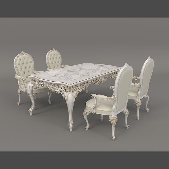 European Style Dinning Table Chair Set 4