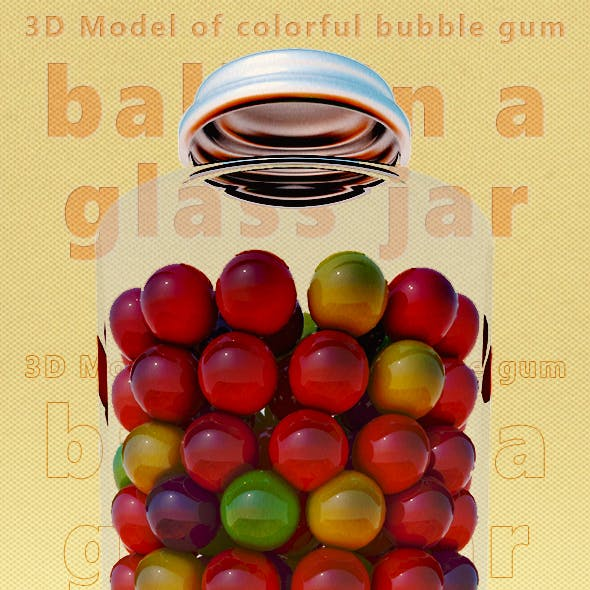 3D Model of Colorful Bubble Gum balls in a Glass Jar