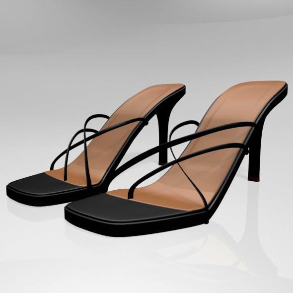 Square-Toe High-Heel Slide Sandals 01