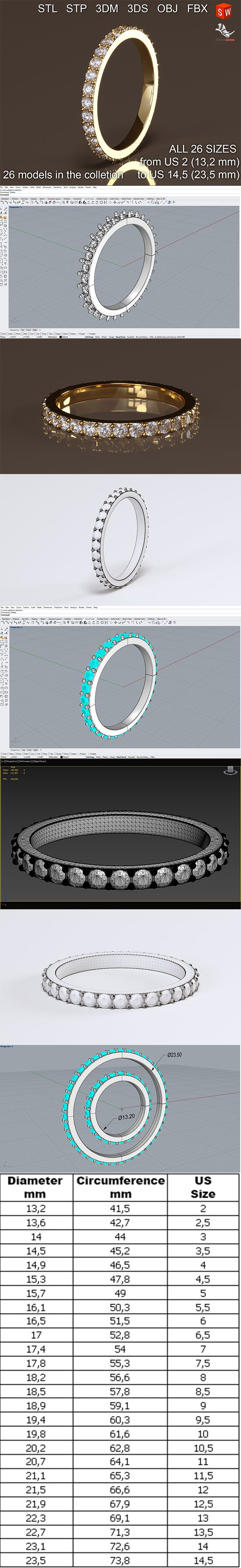 Infinity diamond ring - 3DOcean Item for Sale