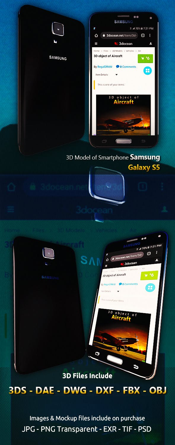 3D Model of Smartphone Samsung Galaxy S5 - 3DOcean Item for Sale