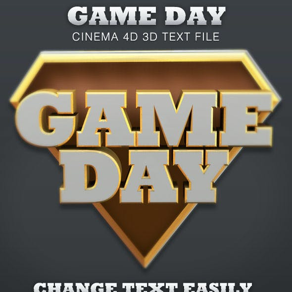 Game Day Cinema 4D 3D Text File