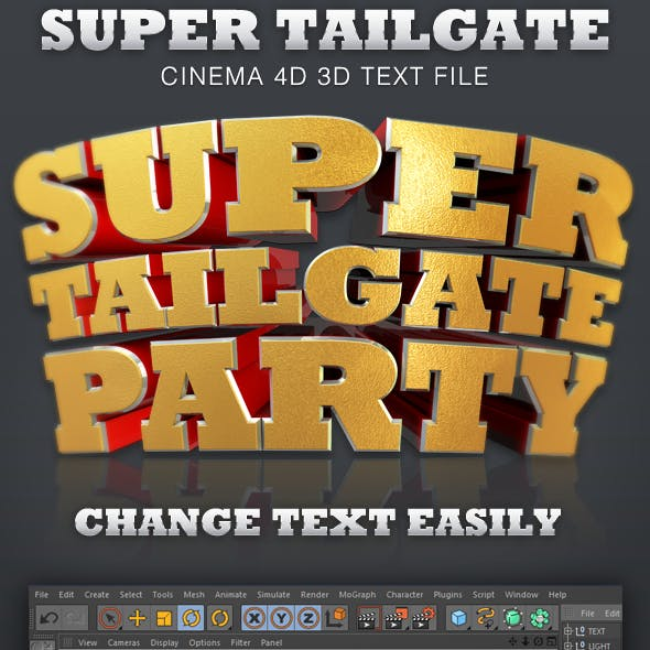 Super Tailgate Cinema 4D 3D Text File