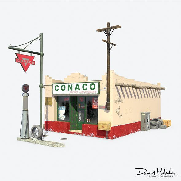 Retro Gas Station - 3DOcean Item for Sale