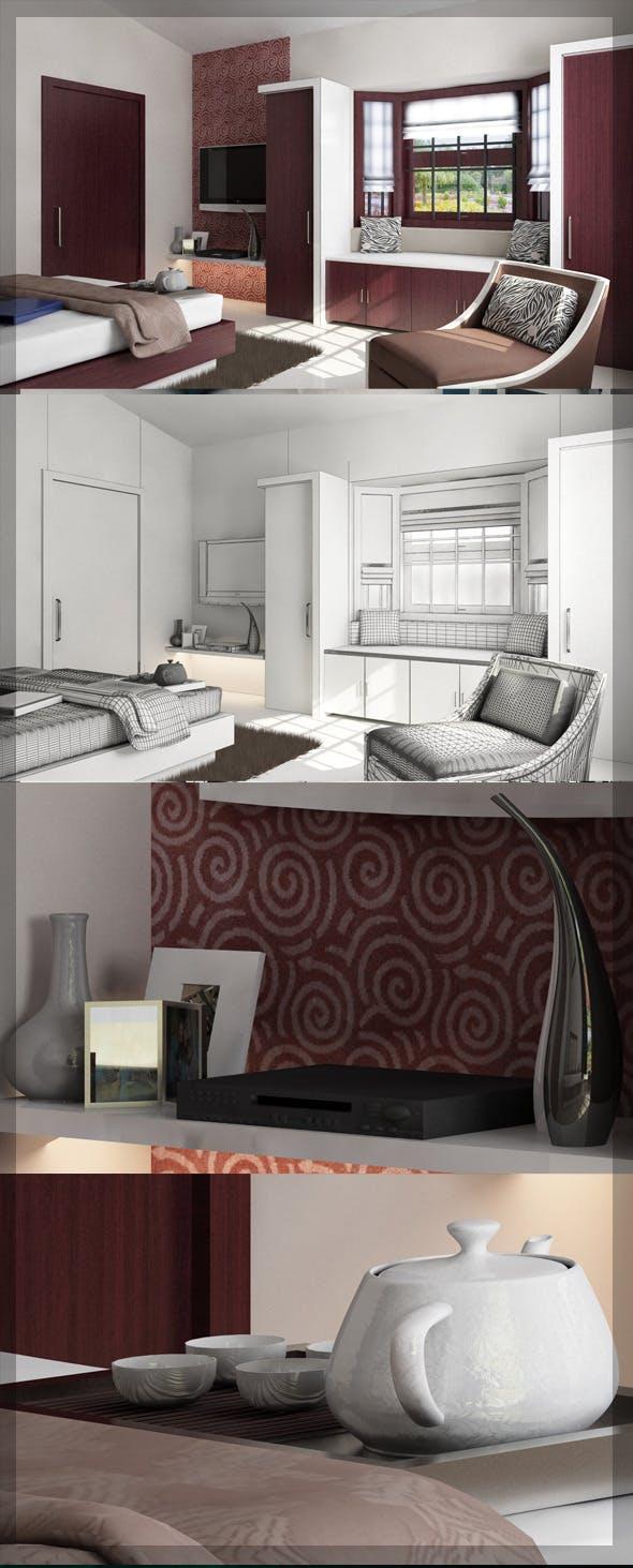 Bed Room 3d interior design 8080 106 - 3DOcean Item for Sale