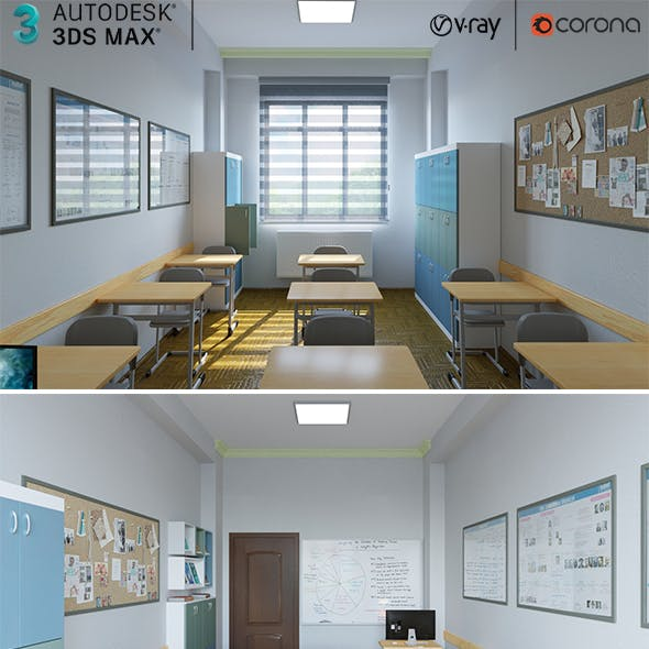 Low-Poly Classroom Interior Design Collection 02