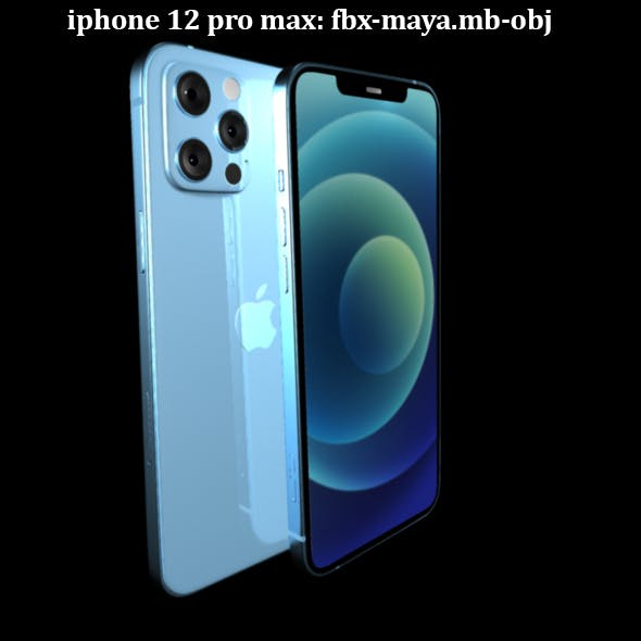iphone 12 pro max blue - 3DOcean Item for Sale
