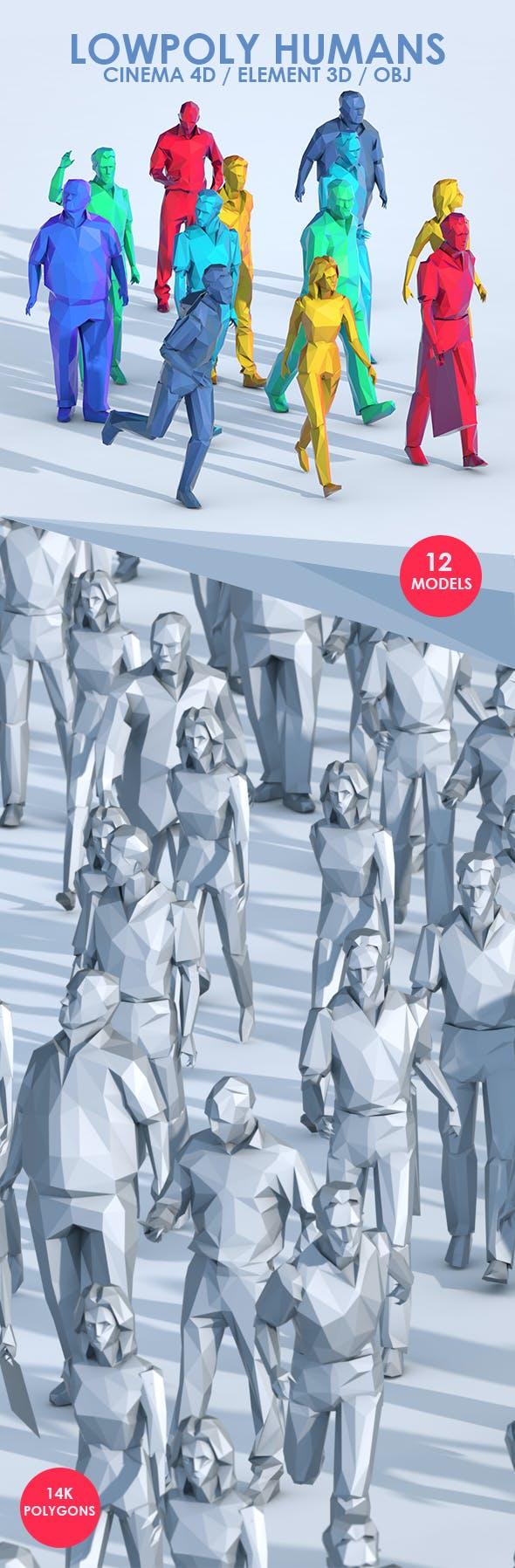 Low Poly People 3D Models for C4D & E3D - 3DOcean Item for Sale