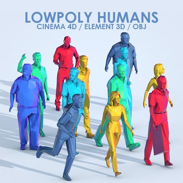 Low Poly People 3D Models for C4D & E3D