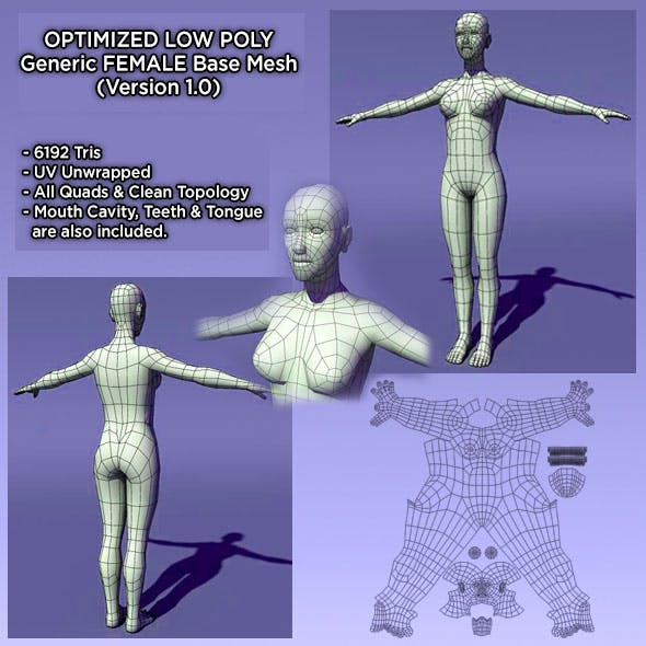 Optimized Low Poly Human Female Base Mesh Ver1.0 - 3DOcean Item for Sale