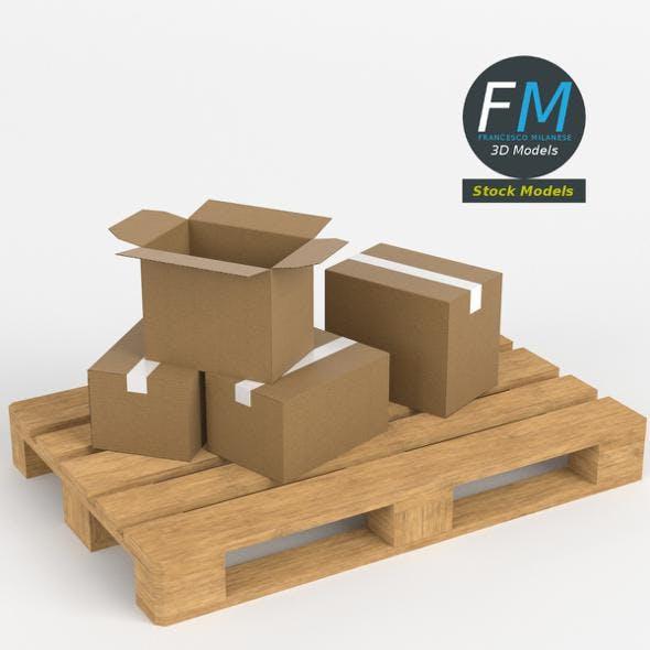 Cardboard boxes on wooden pallet - 3DOcean Item for Sale