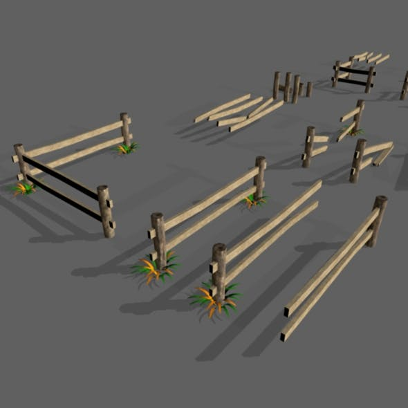 Low Poly Fence Set