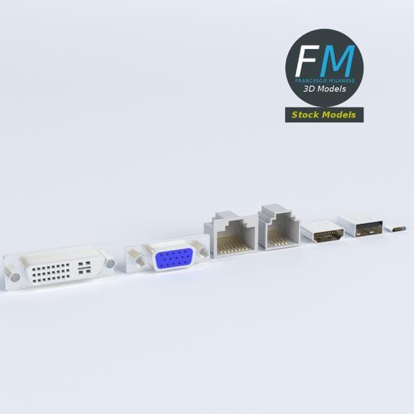 Computer ports sockets - 3DOcean Item for Sale