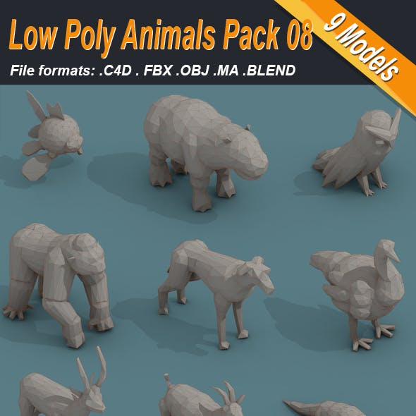 Low Poly 3d Art Animals Isometric Icon Pack 08