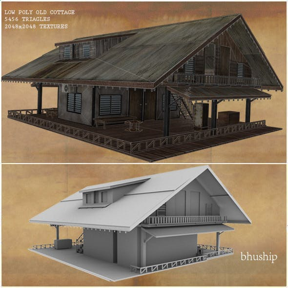 Low Poly Old Cottage 3D Model