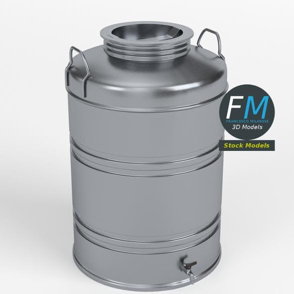Drum for olive oil with faucet and lid