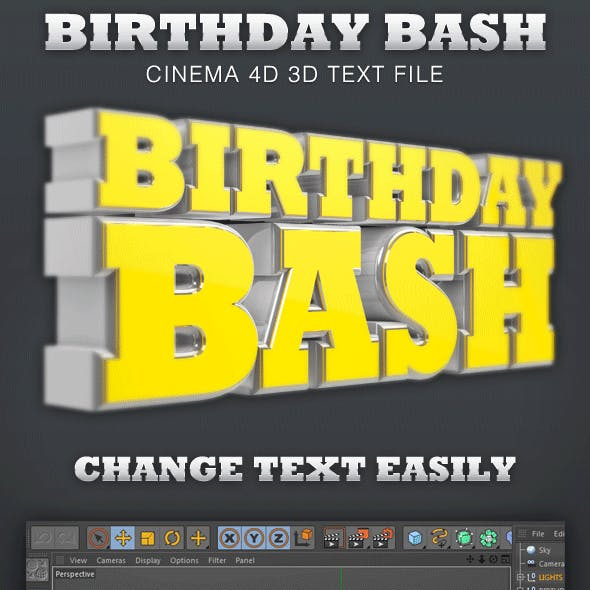 Birthday Bash Cinema 4D 3D Text File