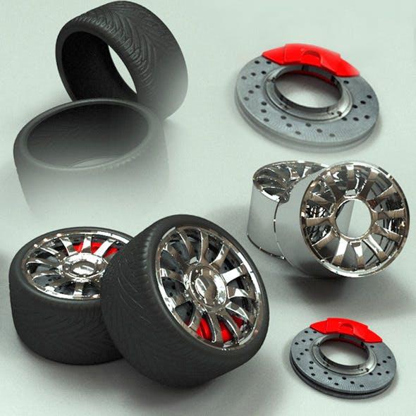 Tire & Rim, Brake Pad and Brake Disc Model - 3DOcean Item for Sale