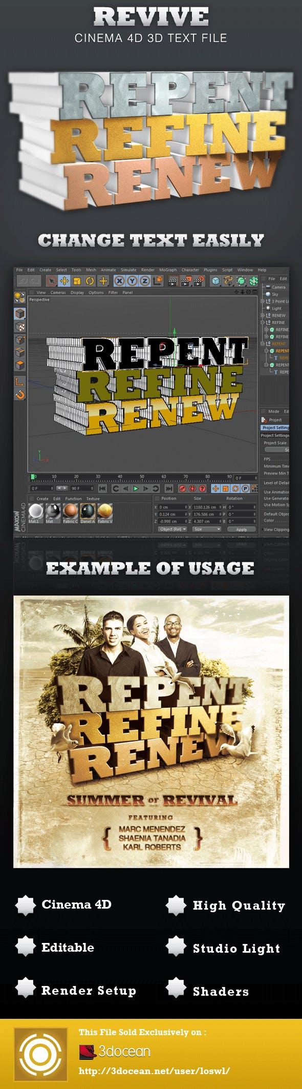 Revive Cinema 4D 3D Text File - 3DOcean Item for Sale