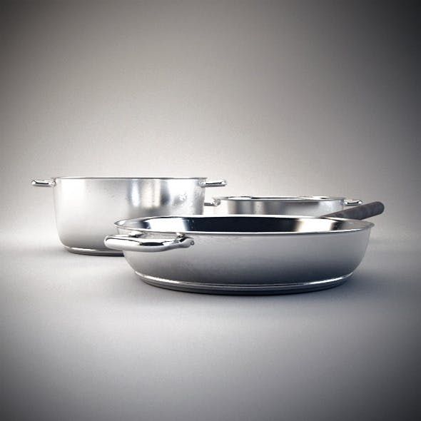 2 Photorealistic Cooking Pots - 3DOcean Item for Sale