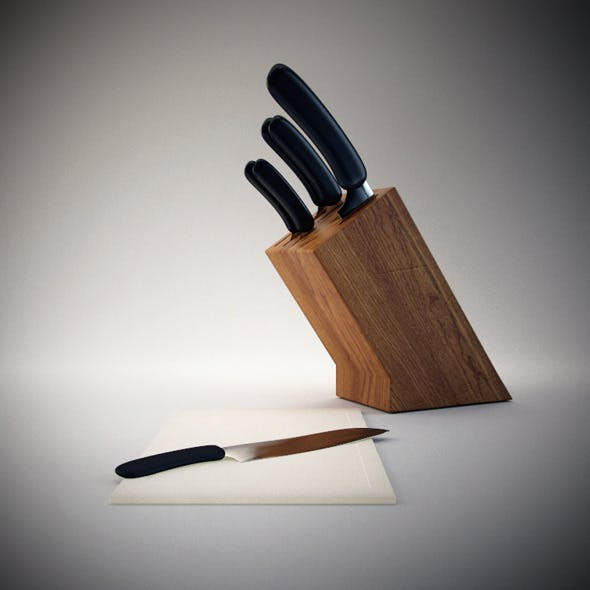 Knife Blocks & Sets - 3DOcean Item for Sale