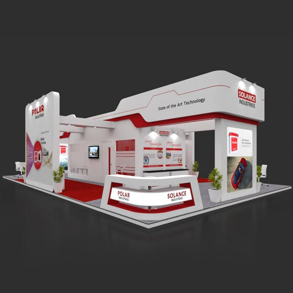 Exhibition Booth 3D Model - 15x9 mtr