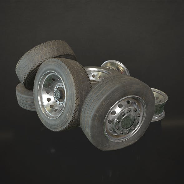 Truck Wheels Rims and Tires - Low Poly