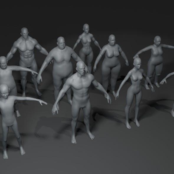 Human Body Base Mesh 10 3D Models Pack 10k Polygons