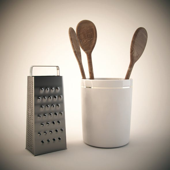 Wooden spoon and steel grater