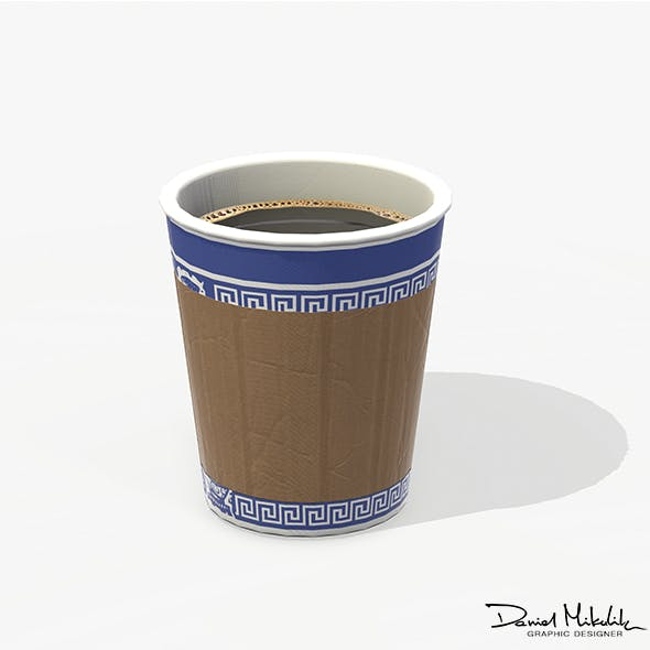 Paper Coffe Cup Low Poly PBR